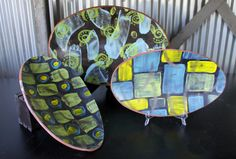 Trays - Jon Loer 2013 - engobe and underglaze decorated earthenware