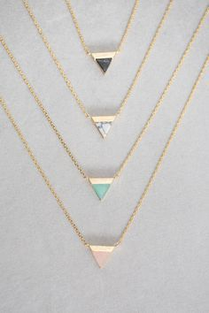 Gold + Stone Triangle Pendant Necklace Available in: Black Marble, White Marble, Jade, Rose ($20.00) - Luxury jewelry & accessories for women and men. Designer earrings, necklaces, cuff links, rings, bracelets.