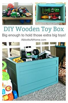 Build a Modern Farmhouse DIY Wooden Toy Storage Crate or Box for all of those kids toys cluttering up your house. Makes a beautiful throw pillow and blanket box in a Living Room or catch all storage box for teens too! #AbbottsAtHome #StorageBox #ToyBox #DIYStorage