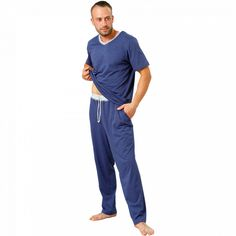 Pijamale Barbati M-Max, Bumbac 'Confortable in Blue' Marimo, The 100, Barbie, Pajamas, Suits, Lady, Model, Blue, Fashion