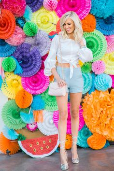 Wanting to know about my colorful vacay in Palm Springs? Now Live on the blog- shop all the deets here ---> High Waisted Shorts + Floral Sandals - Mckenna Bleu