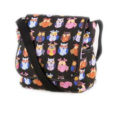 Opt for a casual look this Spring with our black cross body shoulder bag. It comes with a bright multi coloured owl print pattern, brown trim, magnetic popper and full length zip fastenings, mobile phone pouch and an adjustable shoulder strap.