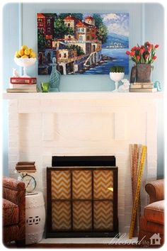 Simple & Colorful Spring Mantel
