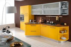 Resultado de imagen para cocinas doradas con platiado imgenes grandes