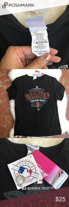 San Francisco Giants Tshirt *NWT* San Francisco Giants Tshirt. Women's size L but cut more slim so could fit a size S-M if you are comparing to traditionally cut tshirts. I am a small and got this in 2008 at spring training. Perfect condition, never worn. Majestic Tops Tees - Short Sleeve
