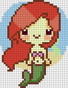 Disney The Little Mermaid Cutie Ariel perler bead pattern