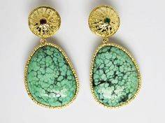 Pure stone and byzantine collection turquoise earrings.