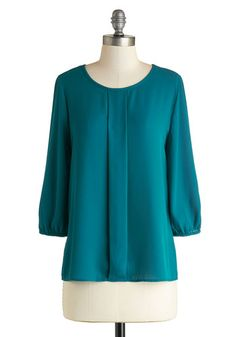 Lovely Luncheon Top - Modcloth. Love the beautiful softened teal and the front pleat detail...