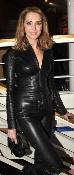 Black leather belted catsuit