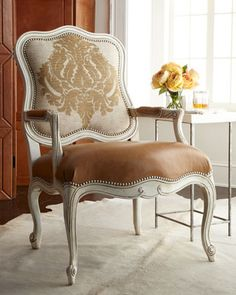 """""""Toasted Bisque"""" Chair by Massoud at Horchow. Smooth leather seating, damask-patterned fabric back, nailhead trim, and a shapely carved frame. Shabby, Wing Chair, Take A Seat, Dining Room Chairs, My Living Room, Sectional Sofa, Recliner Chairs, Leather Sofa, Furniture Decor"""