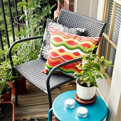 Tips for decorating small outdoor spaces, like an apartment balcony, deck or patio. Make the most out of the space you have!