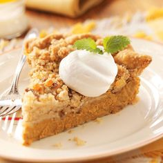 Ginger-Streusel Pumpkin Pie Recipe -I love to bake and have spent a lot of time making goodies for my family and friends. The streusel topping gives this pie a special touch your family will love. —Sonia Parvu, Sherrill, New York