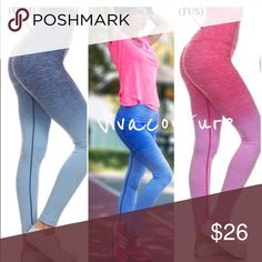 Best ombré fuchsia leggings The fit is fantastic as well as the quality of these fabulous ombré yoga style workout leggings Nwt available in two colors Fuschia and denim . High waist tummy control or can be worn rolled over the waist . Best selling style Pants Leggings