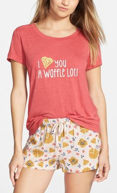 "'I <3 you a waffle lot!"" This cute tee and printed shorts are perfect for weekend lounging."