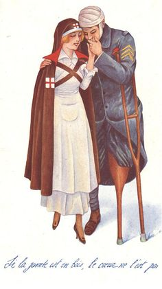 The nurse as comforting presence and romantic interest for a wounded soldier, ca. 1916    : Xavier Sager (1870–1930)