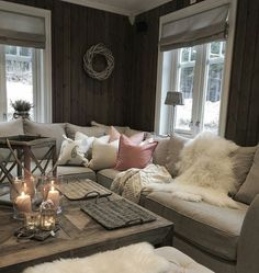 Living Room Styles, Living Room Designs, Living Room Decor, Hygge Home, Cabin Interiors, Cozy Place, Dream Decor, Home And Living, Home Furniture