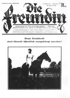 """Cover of Die Freundin (""""The Girlfriend"""") from April 30, 1930, a German magazine for lesbians published between 1924 and 1933."""