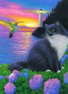 Tuxedo cat hummingbird lighthouse ocean flowers evening original aceo painting #Realism