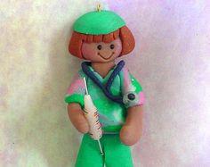 Medical Doctor Nurse Scrubs Stethoscope Syringe Handcrafted Polymer Clay Milestone Christmas Ornament Cake Topper Hospital Surgeon Birthday