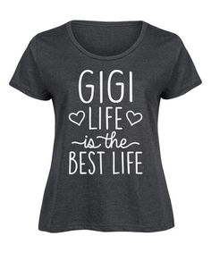 Heather Charcoal 'Gigi Life' Scoop Neck Tee - Plus