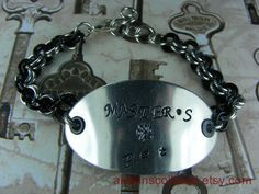 Master's Pet Handstamped Chainmaille Bracelet by aislinnscollared
