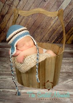 Crochet Earflap hat, Boy - Newborn Photography Prop. $19.00, via Etsy.