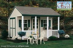 Backyard Cabana Storage Garden Shed with Porch and Patio Furniture Wood Shed Plans, Shed Building Plans, Diy Shed Plans, Storage Shed Plans, Porch Plans, Backyard Sheds, Outdoor Sheds, Garden Sheds, Backyard Cabana