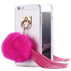 Case For iPhone 7 Plus 6 6S Plus 5 5S SE Transparent Case Fashion Ball Tassel Rabbit Fur Cover Coque For iPhone 6 6S Plus 5S SE