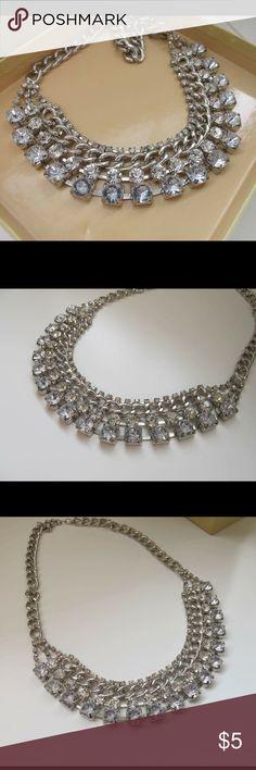 Diamond Silver Short Necklace Stunning diamond silver necklace. One size Jewelry Necklaces