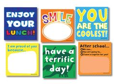 Love Note Lunch Ideas for Kids' Lunchboxes: super duper list! Lunchbox Notes For Kids, Lunch Notes, School Lunch Box, School Days, School Lunches, Box Lunches, School Stuff, Pause, Kids Corner