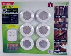 Lightmates LED Wireless Puck Lights With Remote Batteries 6 Pack
