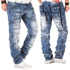 Kosmo Lupo Herren Jeans Japan Style Hose Clubwear Cargo Denim Chino Vintage Blau