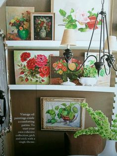 Cute idea to display vintage artwork. Create a theme - from Better Homes and Gardens magazine