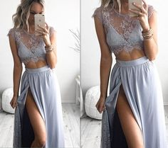 Sexy Lace Applique Long Prom Dress,Two Pieces Prom Dress,Long Evening Dress,f046 on Storenvy