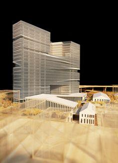 ( olha que legal- a transiçao dos espaços abertos da torre, nao e brusco, mas como se levantassemos uma veneziana) ARCHITECTURAL MODELS