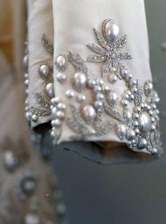 notordinaryfashion: Oscar de la Renta S/S 2013 #details #oscardelarenta #couture #beads #embroidery #pearls #grey #silver #neutrals