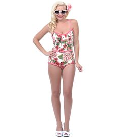 I love this Pink & Green Floral Belted Retro Swimsuit- Unique Vintage Unique Swimsuits, Vintage Swimsuits, Pin Up Outfits, Cool Outfits, Pin Up Swimsuit, Floral Swimsuit, Retro Fashion, Vintage Fashion, Unique Vintage