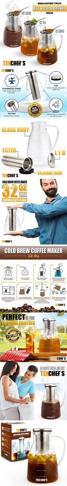 cold brew coffee maker and hyper iced tea infuser by 32 oz