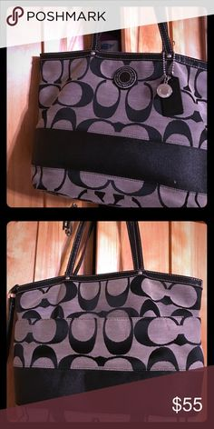 Coach tote Black coach tote. Minor wear on handles but in GREAT condition. Smaller tote:) Coach Bags Totes
