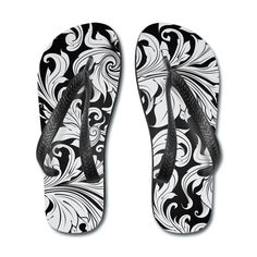 Floral Pattern Flip Flops White/Black Flip Flops   SnapMade.com ($24) ❤ liked on Polyvore featuring shoes, sandals, flip flops, swimming shoes, swim sandals, party flip flops and floral print shoes