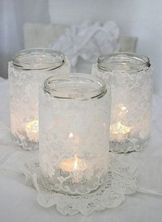 A simple mason jar and some scrap lace could do wonders! I hope this idea will add ambience and cosiness to your Christmas table. It is very simple just glue the lace to the jar. Lace Candles, Candle Lanterns, Candels, Bottles And Jars, Glass Jars, Mason Jar Crafts, Mason Jars, White Christmas, Christmas Crafts