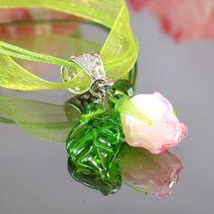 Lampwork Rose Pendant - by JewelryBeadsByKatie