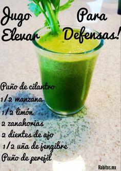 Jugo verde para las DEFENSAS: cilandro, manzana, limón, zanahorias, ajo, jengibre y perejil