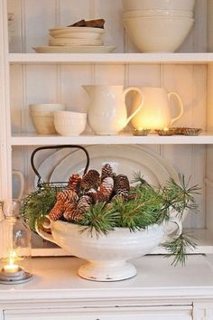 a soup bowl with evergreens and pinecones