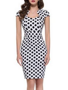 Sexy  Polka Dot  With Zips Bodycon-dress