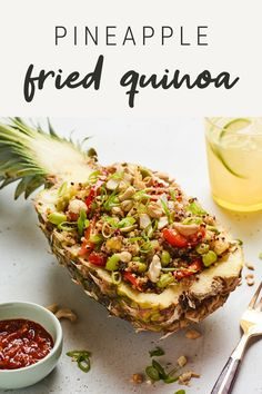 A healthy take on fried rice, this pineapple fried quinoa is delicious and super fun served in a pineapple boat. It's also vegan and gluten-free. Good Healthy Recipes, Paleo Recipes, Cooking Recipes, Fried Quinoa, Fried Rice, Recipe Using Quinoa, Bird Food, How To Cook Quinoa, Vegan Dishes