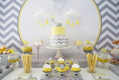 yellow and gray elephant baby shower dessert table