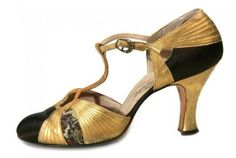 1920s Evening Shoes- Gold and Black T Straps- these are kinda cute in a vintage way