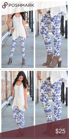 ⭐️New Arrival⭐️ Floral Print Leggings Blue/White Floral Print Leggings  These leggings are very soft & comfortable!! These are One Size & comfortably fit size 2-12  92% Polyester 8% Spandex Infinity Raine Pants Leggings