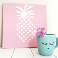 Crafty Hodge Podge - A hand-painted pineapple canvas and sleepy eyes on a thrift store mug | Hey Love Designs